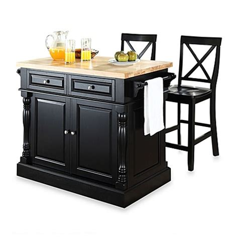 black kitchen island with stools buy crosley butcher block black kitchen island with 24 inch black x back stools from bed bath