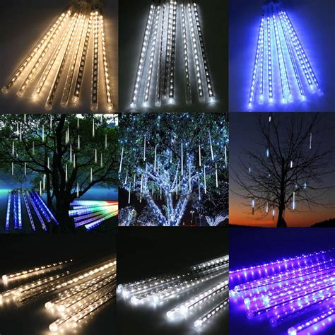 how to make raining lights in a tree 8 falling drop icicle snow fall string led cascading tree lights decor ebay