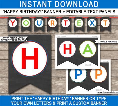 free printable birthday fonts chalkboard birthday party banner template birthday