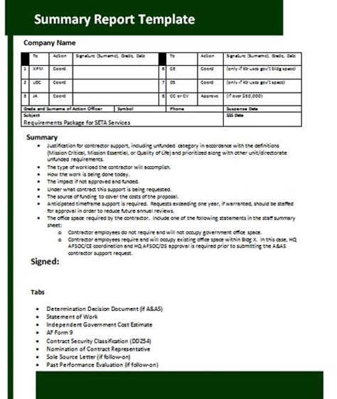 project summary template best photos of summary report template office summary