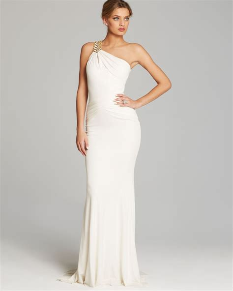 drape gowns badgley mischka gown one shoulder grecian drape jersey