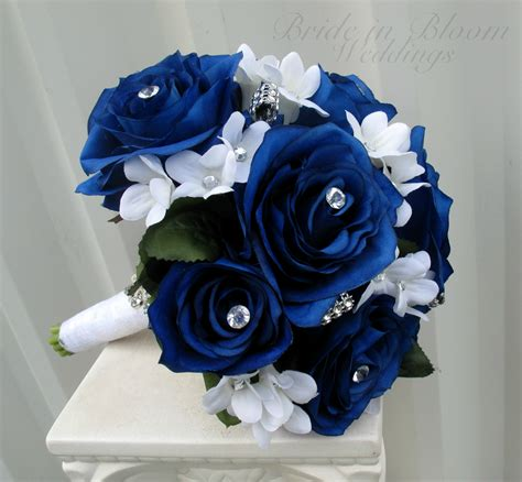 wedding bouquet blue royal blue and white wedding bouquets images