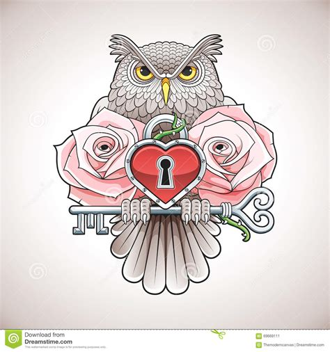 beautiful colour tattoo design of an owl holding a key