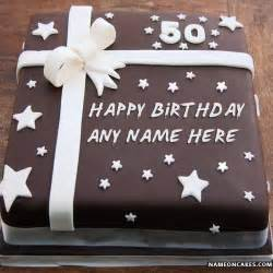 square chocolate cake of 50th birthday with name