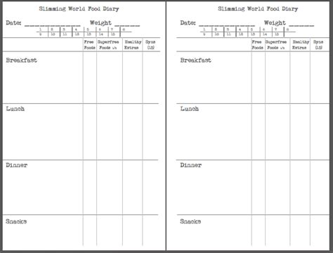 printable food diary slimming world search results for printable food diary sheets