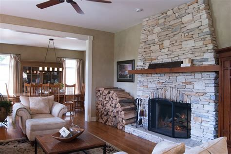 Full Size Platform Storage Bed - stacked stone fireplace with wood mantle living room farmhouse with dining room wood dining room