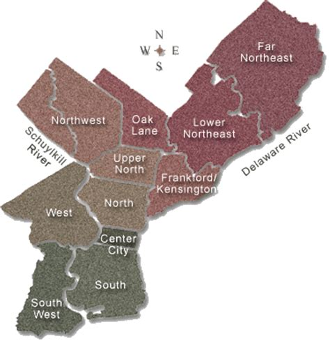 philadelphia sections city map with districts