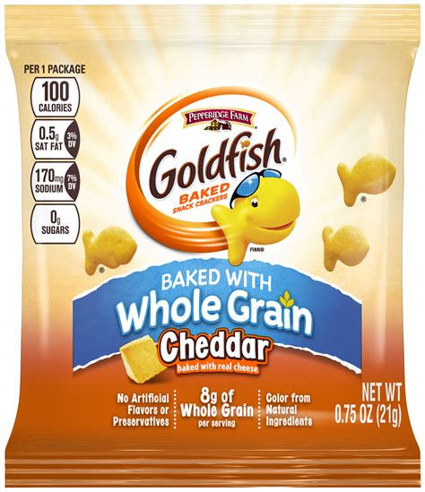 whole grains nutritional value cheddar goldfish 174 made with whole grain cbells food