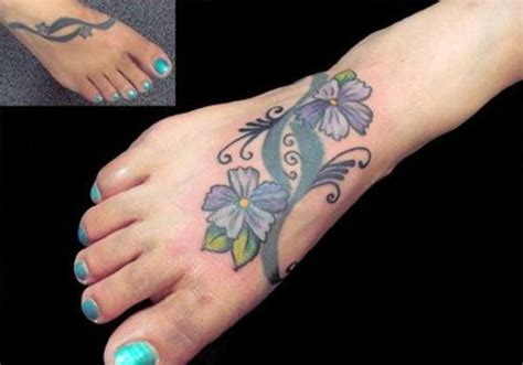 30 Beautiful Flower Tattoos Ideas For Foot Blue Flower On Foot