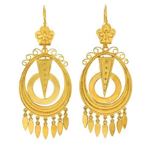 Chandelier Earrings Gold Antique Gold Chandelier Earrings For Sale At 1stdibs