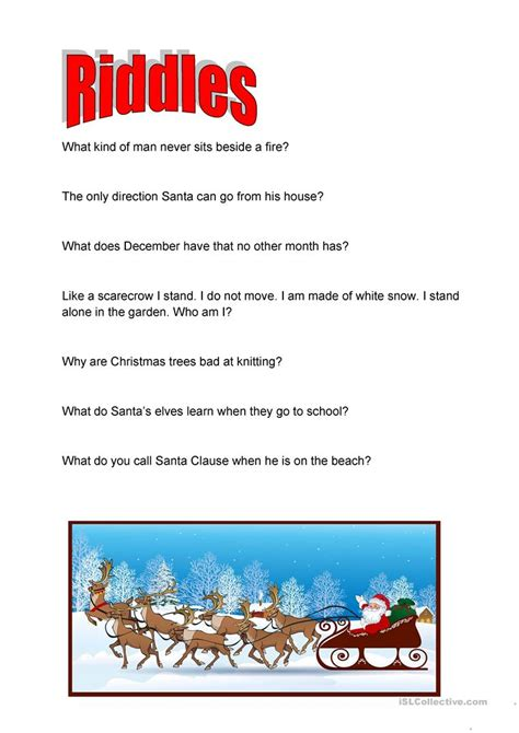 christmas riddles worksheet free esl printable