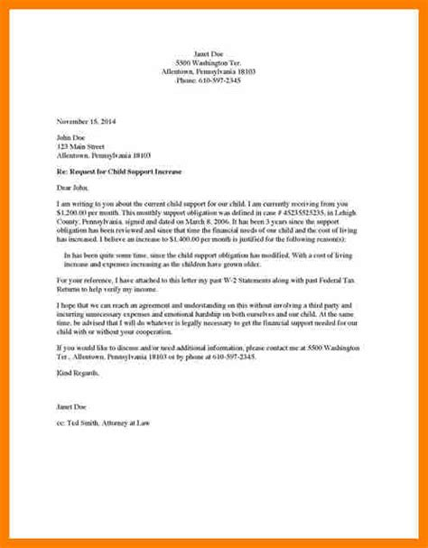 gallery of sle child support letter