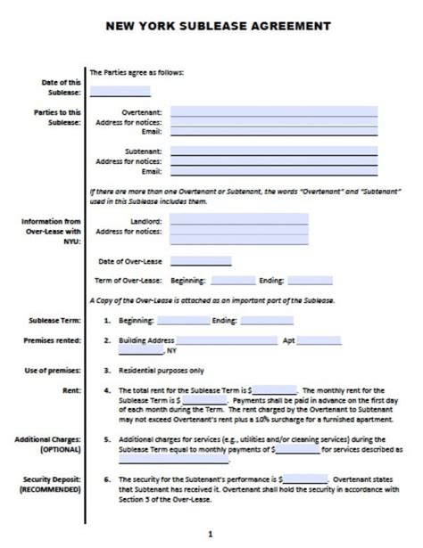 Free New York Sub Lease Roommate Agreement Pdf Word Doc Sublease Agreement Template Nyc