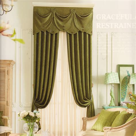 green valance curtains solid chenille fabric dark green curtains no valance