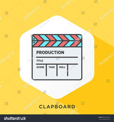 Outline Offset Color by Clapboard Icon With Grey Outline And Offset Flat Colors Stock Vector Illustration