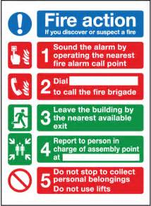 fire action if you discover or suspect a fire sign