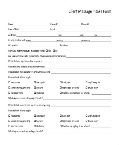 sle massage intake form 9 exles in word pdf