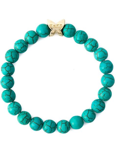 Blue Bracelet fefe bead bracelet in blue for lyst