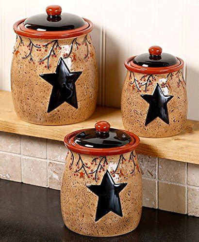 primitive kitchen canister sets set of 3 primitive rustic star berries canisters country