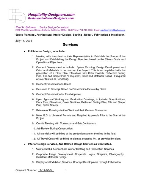 Letter Of Agreement For Interior Design Services Interior Design Contract Template Smalltowndjs