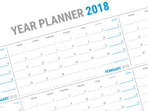 Year Wall Planner 2018 Kp W13 Calendar Template Yearly Planner Template 2018