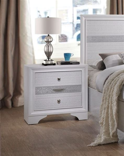 White And Silver Nightstand Nandini Contemporary 3 Drawer Nightstand W White Silver Finish