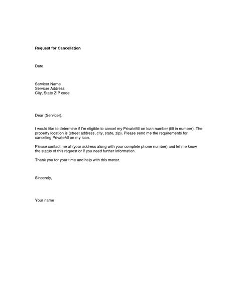 pmi insurance cancellation letter sle request letter for visa cancellation cover letter