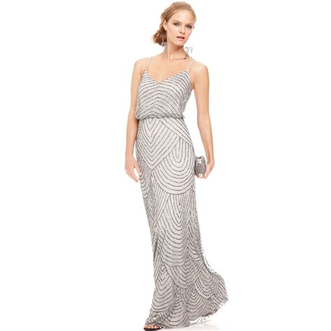 beaded blouson gown papell spaghettistrap beaded blouson gown in