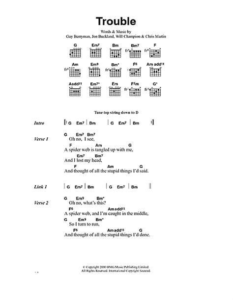 Coldplay Trouble Lyrics | trouble sheet music by coldplay lyrics chords 40573