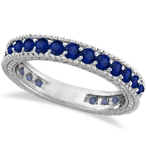 Blue Sapphire 4 35 Ct blue sapphire eternity ring anniversary band 14k white