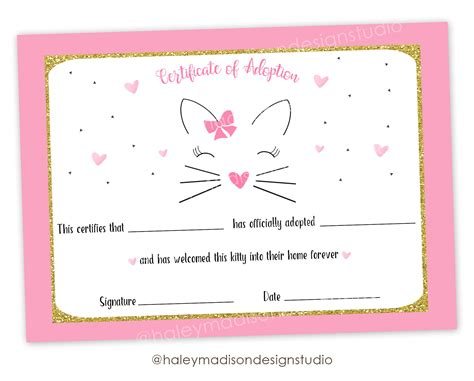 cat adoption event cage card template certificado de adopci 243 n de gato gatito gato adopci 243 n