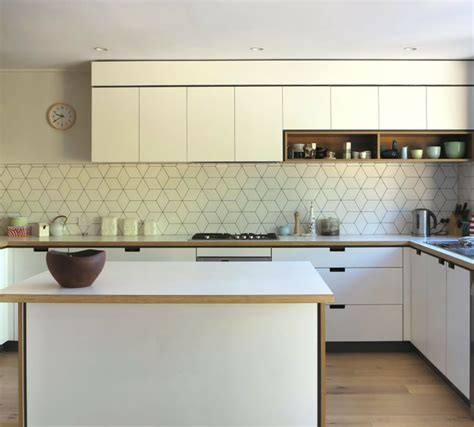 this geometric tile splashback with darker grout could be reasonably low maintenance kitchens