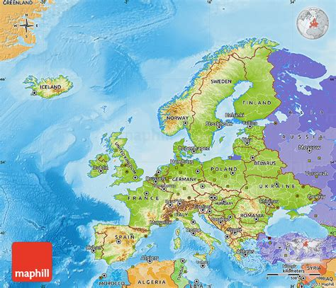 map of europe seas physical map of europe political outside shaded relief sea