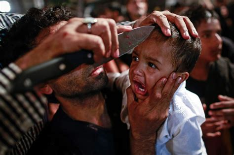 pictures of knives with blood on them muslim extremists are slicing their babies foreheads in