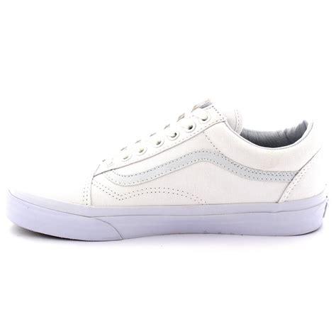 mens vans skool low top skate shoes white lace up