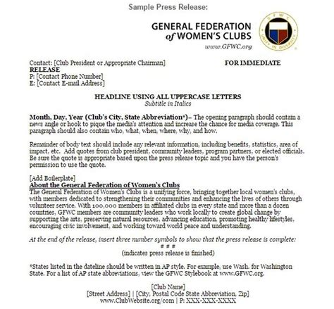 press releases gfwc of massachusetts
