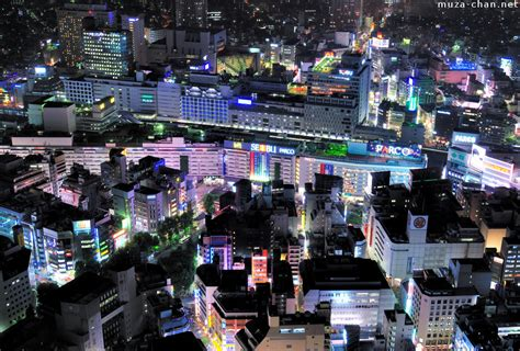 Modern Japanese Architecture colourful night over ikebukuro