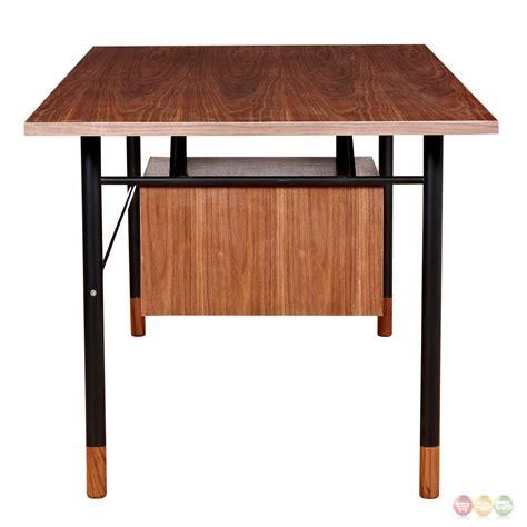 Soren Walnut Wood Writing Desk With Storage In Grey