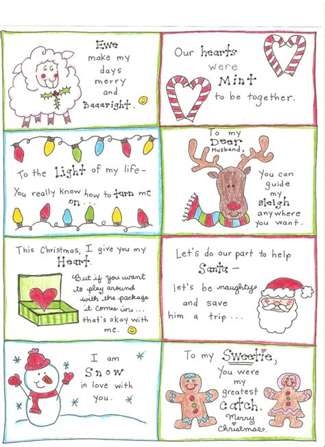 printable christmas notes christmas love notes for the happy hubby free printable