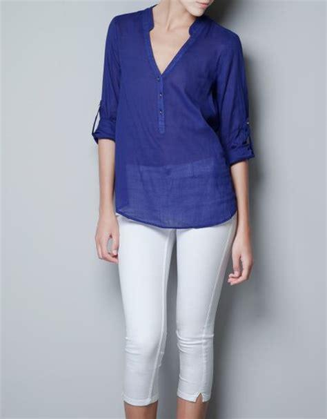 Zara Jumbo Blouse By Hana zara blue blouse blouse with