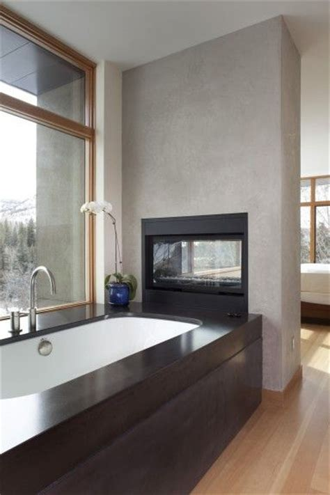 Bathroom Gas Fireplace by Window House And Large Windows On
