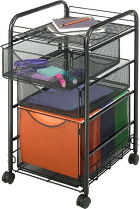 Small Storage Cart With Drawers Safco Onyx Mesh File Cart With 1 File Drawer And 2 Small
