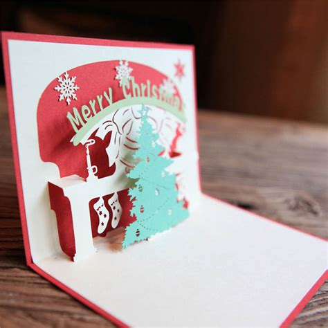 Handmade New Year Greeting Cards - 3d pop up handmade tree happy new year greeting