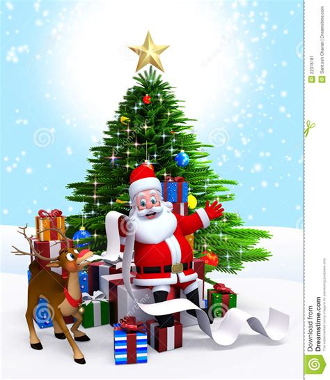 santa claus with tree images santa claus tree with gift list stock illustration image 22376181