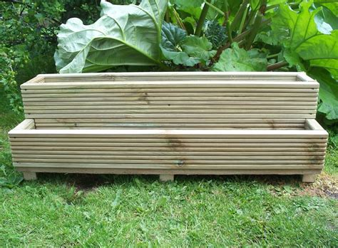 Timber Planters by Two Tiered Wooden Decking Step Garden Planter Wood Trough