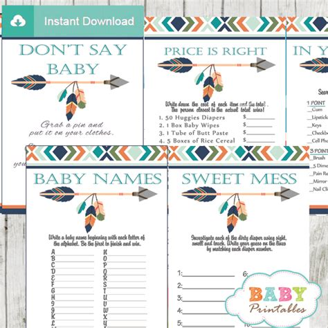 free printable native american thank you cards tribal baby shower games boho arrow d242