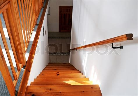 wooden stair banister interior wood stairs and handrail stock photo colourbox