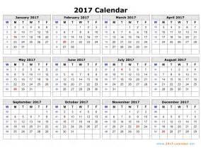 Week Wise Calendar 2018 Printable 2017 Calendar