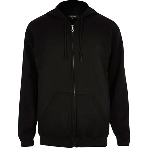 Hoodie Zipper Esp Dennizzy Clothing lyst river island black zip through hoodie in black for