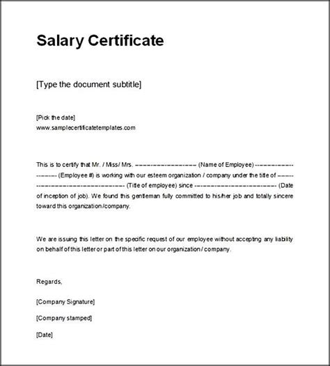 salary certificate letter 33 best best templates images on best